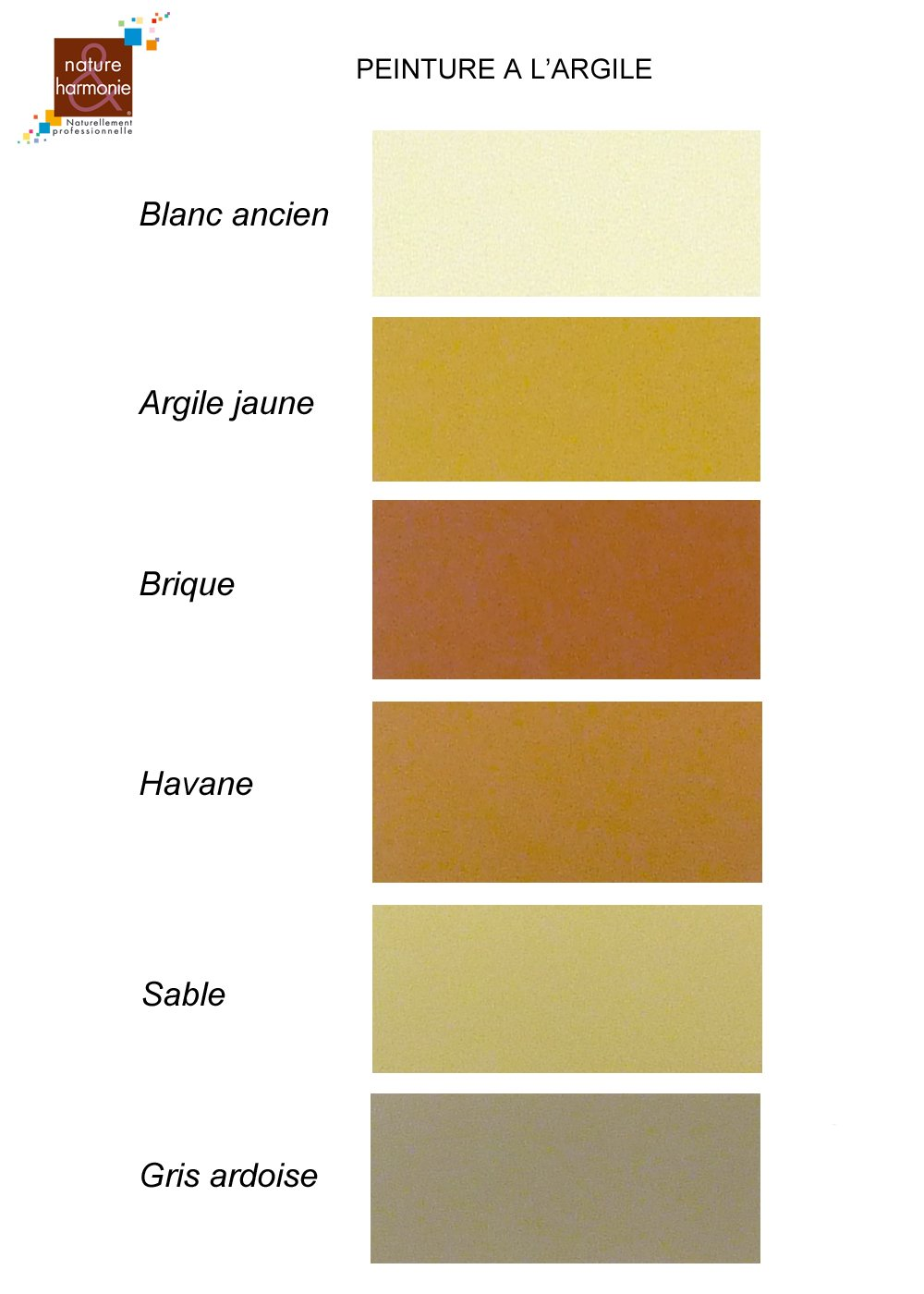 Nature et harmonie range natural and ecofriendly clay paint - Peinture murale couleur sable ...